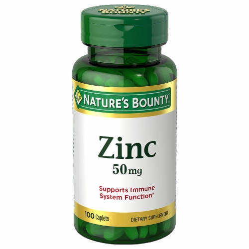 Nature's Bounty Zinc Caplets 50mg 100 Count Perspective: front