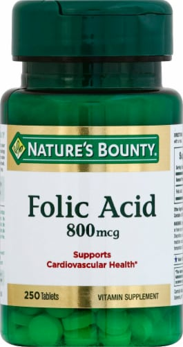 Nature's Bounty Folic Acid Tablets 800mcg Perspective: front