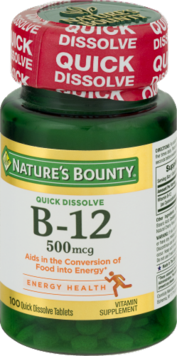 Nature's Bounty Quick Dissolve B-12 Tablets 500 mcg Perspective: front