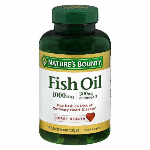 Nature's Bounty Fish Oil Softgels 1000mg 145 Count Perspective: front