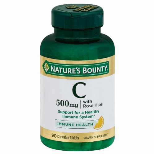 Nature's Bounty Orange Vitamin C Chewable Tablets 500mg Perspective: front