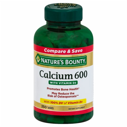 Nature's Bounty Calcium 600 with Vitamin D3 Tablets Perspective: front