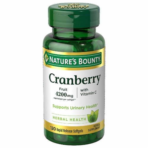 Nature's Bounty Cranberry with Vitamin C Rapid Release Softgels 4200mg Perspective: front