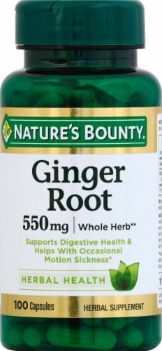 Nature's Bounty Ginger Root Capsules 550mg Perspective: front