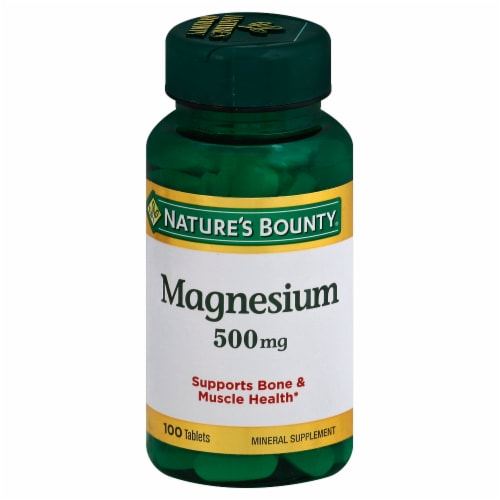 Nature's Bounty Magnesium Tablets 500mg Perspective: front