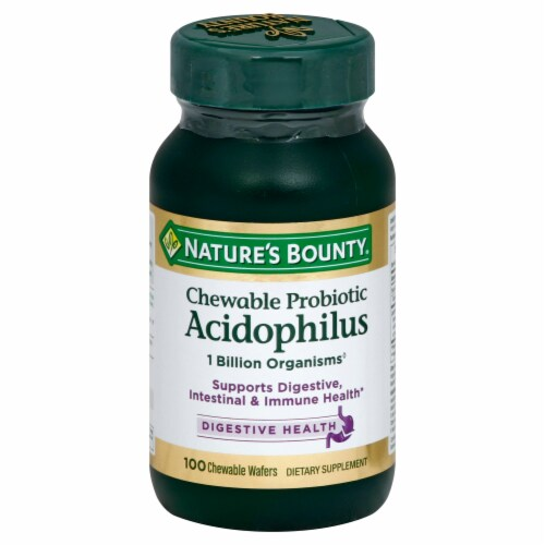 Nature's Bounty Probiotic Acidophilus Chewable Wafers 100 Count Perspective: front
