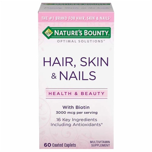 Nature's Bounty Hair Skin & Nails with Biotin Caplets 3000mcg Perspective: front