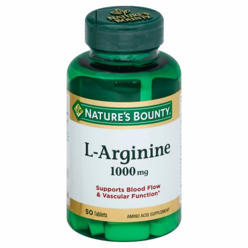 Nature's Bounty L-Arginine Tablets 1000mg 50 Count Perspective: front