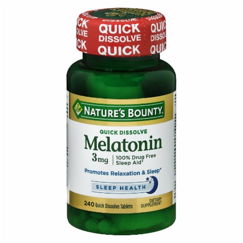 Nature's Bounty Melatonin Quick Dissolve Tablets 3mg 240 Count Perspective: front