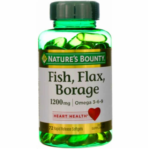 Nature's Bounty Fish Flax Borage 1200mg Omega 3-6-9 Softgels Perspective: front