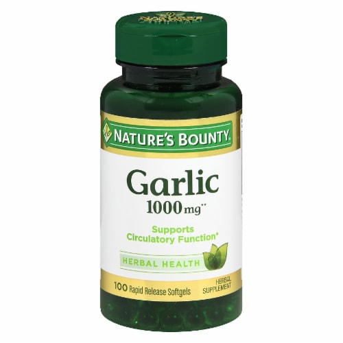 Nature's Bounty Garlic Rapid Release Softgels 1000mg Perspective: front