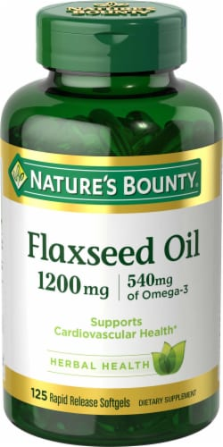 Nature's Bounty Flaxseed Oil Omega-3 540 mg Rapid Release Softgels 1200mg Perspective: front
