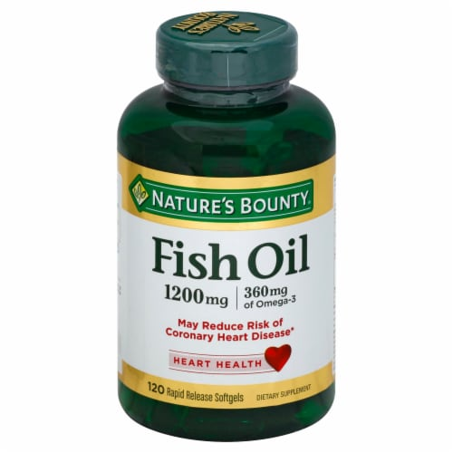 Nature's Bounty Fish Oil Softgels 1200mg 120 Count Perspective: front