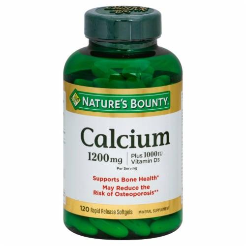 Nature's Bounty Calcium Vitamin D3 Softgels 25mcg 120 Count Perspective: front