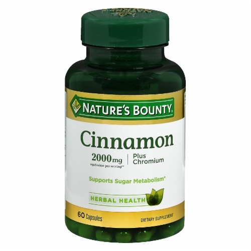 Nature's Bounty Cinnamon 2000mg + Chromium Capsules 60 Count Perspective: front