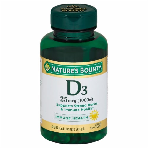 Nature's Bounty D3 Softgels 25mcg Perspective: front