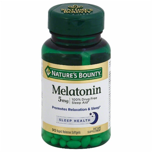 Nature's Bounty Melatonin Softgels 5mg 90 Count Perspective: front
