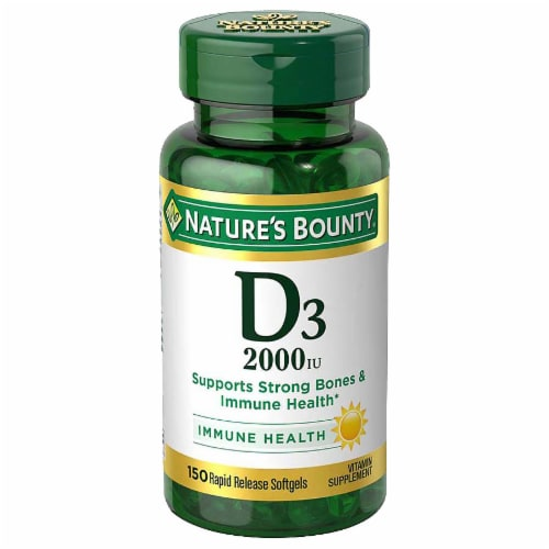 Nature's Bounty D3 Softgels 50mcg 150 Count Perspective: front