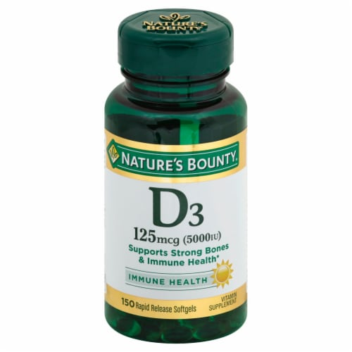 Nature's Bounty D3 Softgels 125mcg 150 Count Perspective: front