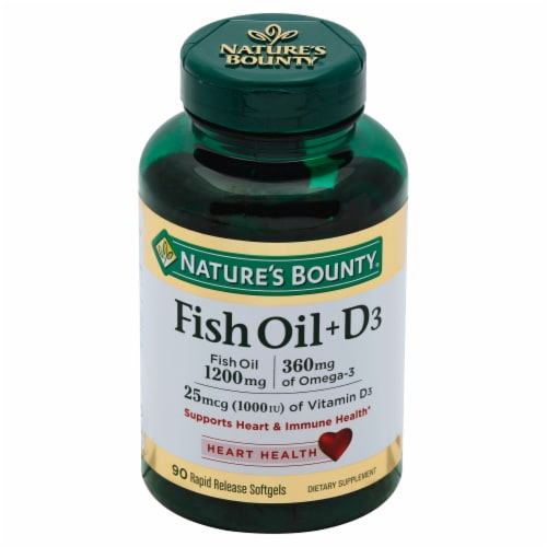 Nature's Bounty Fish Oil 1200mg + D3 25mcg (1000IU) Softgels Perspective: front