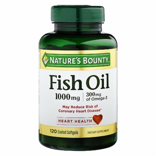 Nature's Bounty Fish Oil Omega-3 Coated Softgels 1000mg 120 Count Perspective: front