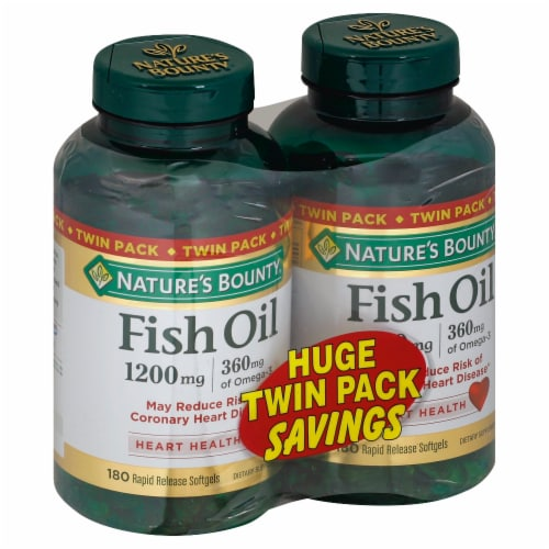 Nature's Bounty Fish Oil Softgels Twin Pack 1200mg Perspective: front
