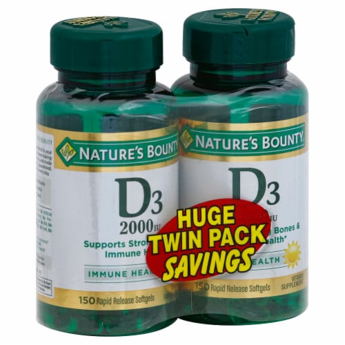 Nature's Bounty Vitamin D2000 Softgels Twin Pack Perspective: front