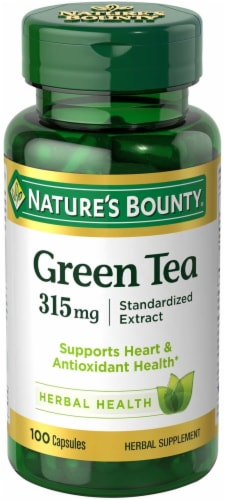 Nature's Bounty Green Tea Standardized Extract Capsules 315mg 100 Count Perspective: front