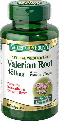 Nature's Bounty Valerian Root Capsules 450mg Perspective: front
