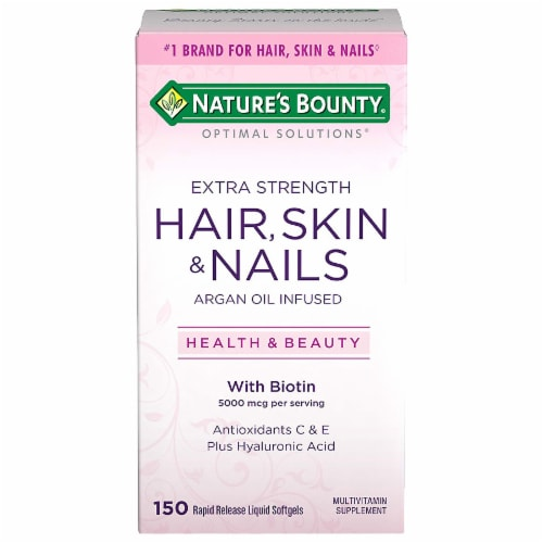 Nature's Bounty Extra Strength Hair Skin & Nails Argan Oil Infused Softggels 5000mcg Perspective: front