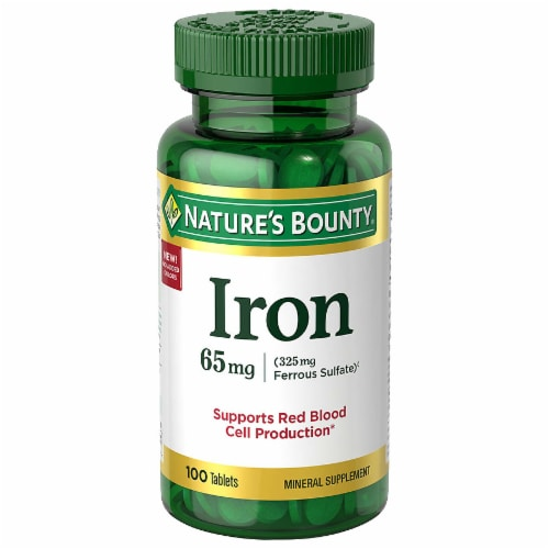 Nature's Bounty Iron Tablets 65mg Perspective: front