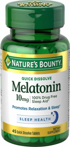 Nature's Bounty Melatonin Quick Dissolve Tablets 10mg Perspective: front