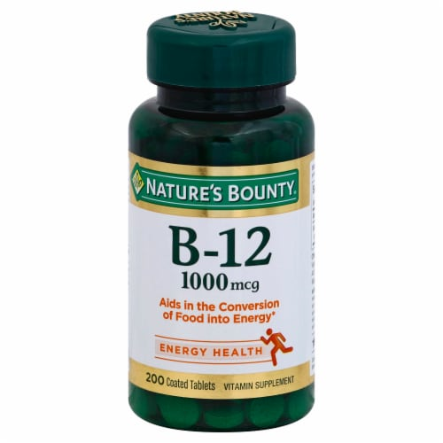 Nature's Bounty Vitamin B-12 Coated Tablets 1000mcg Perspective: front