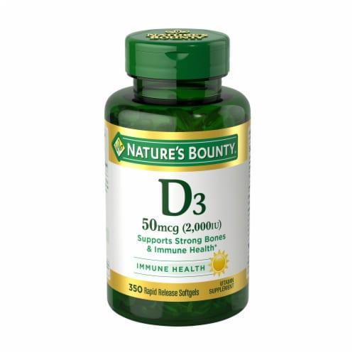 Nature's Bounty Vitamin D3 Softgels 2000 IU Perspective: front