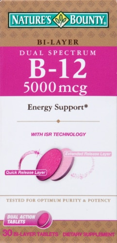 Nature's Bounty Dual Spectrum Bi-Layer B-12 Tablets 5000mg Perspective: front