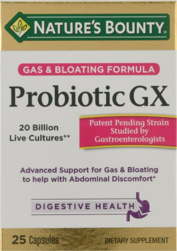 Nature's Bounty Probiotic GX Gas & Bloating Formula Capsules Perspective: front
