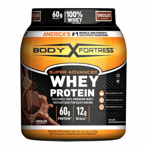 Body Fortress Chocolate Whey Protein Powder Perspective: front