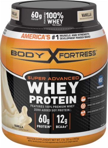 Body Fortress Vanilla Whey Protein Powder Perspective: front