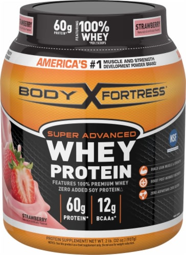 Body Fortress Super Advanced Strawberry Whey Protein Powder Perspective: front