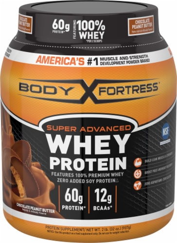Body Fortress Chocolate Peanut Butter Whey Protein Powder Perspective: front