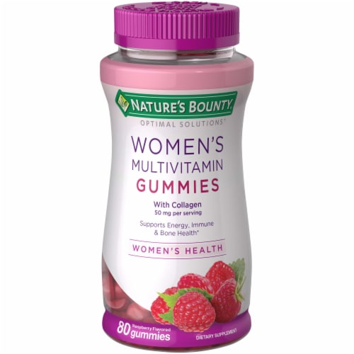 Nature's Bounty Women's Multivitamin with Collagen Raspberry Flavored Gummies 50mg Perspective: front