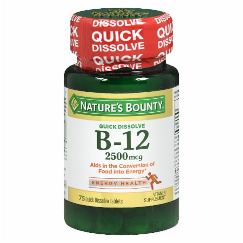 Nature's Bounty B-12 Quick Dissolve Tablets 2500mcg Perspective: front