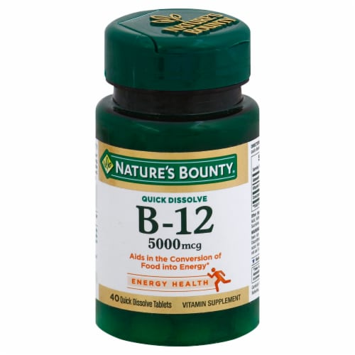 Nature's Bounty B-12 Quick Dissolve Tablets 5000mcg 40 Count Perspective: front
