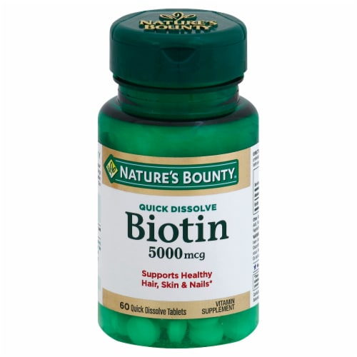 Nature's Bounty Biotin Quick Dissolve Tablets 5000mcg Perspective: front