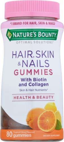 Nature's Bounty Tropical Citrus Hair Skin & Nails Gummies Perspective: front