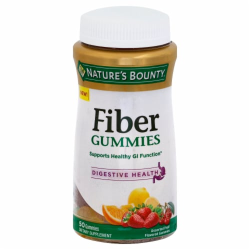 Nature's Bounty Digestive Health Fiber Assorted Fruit Flavored Gummies Perspective: front