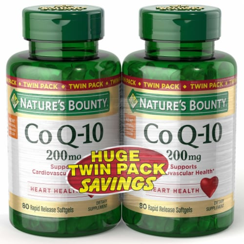 Nature's Bounty Co Q-10 200 mg Rapid Release Softgels Twin Pack Perspective: front