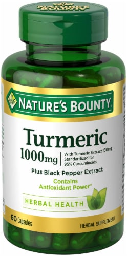 Nature's Bounty Turmeric Capsules 1000 mg Perspective: front