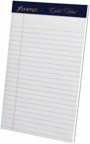 Ampad Gold Fibre Legal Ruled Perforated Pad - White Perspective: front