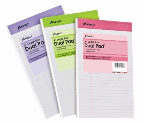 Ampad Dual Pad Jr. Legal Size Notepad - Assorted Perspective: front
